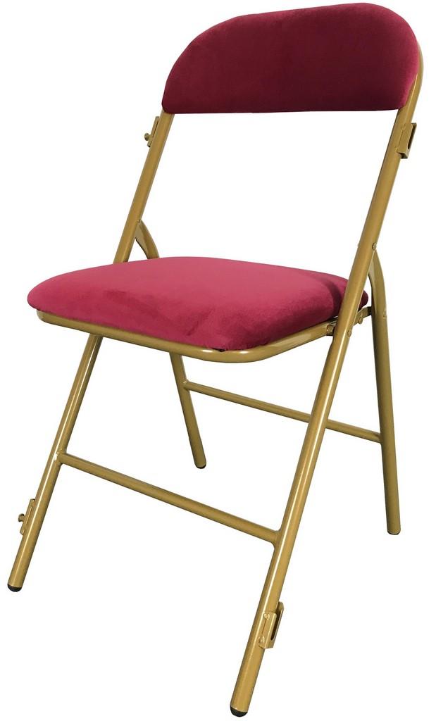 Chaise pliante prestige grenat or m1 for Chaise pliante confortable